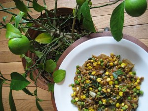 Freekah Stir-Fry with Corn, Peas & Chard