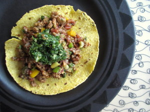 Chorizo with Red Rice, Sauteed Veggies & Cilantro Sauce