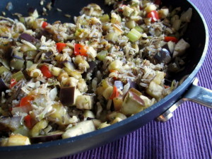 Eggplant Sauté with Celery, Peppers & Wild Rice