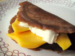 Chocolate Crepes with Mango & Mascarpone