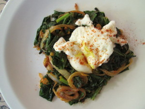 Spiced Collard Greens with Poached Egg