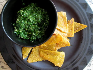 Homemade Tortilla Chips with Cilantro Salsa