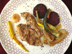 Grilled Marinated Chicken with Veggies