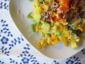 Scrambled Eggs with Avocados & Peppers