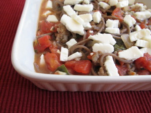 Buckwheat Pasta with Sausage Stew & Feta