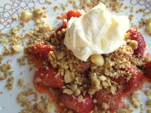 Roasted Strawberries with Buckwheat & Macadamia Streusel