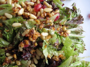 Pomegranate & Pine Nut Salad with Fried Mung Beans
