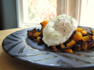 Fried Butternut with Dilly Poached Egg