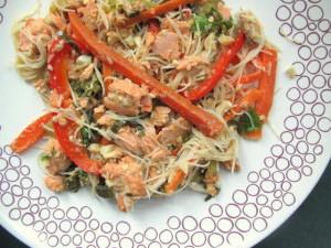 Salmon Stir-Fry with Maifun Noodles