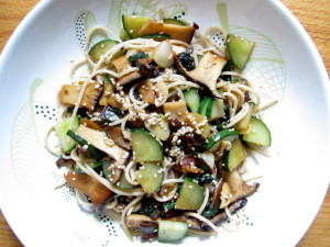 King Trumpet Mushrooms with Chard & Cucumbers