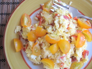 Egg Scramble with Garden Peppers & Tomatoes...and Truffle Salt!