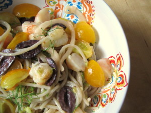 BBQ Shrimp Pasta with Olives & Dill