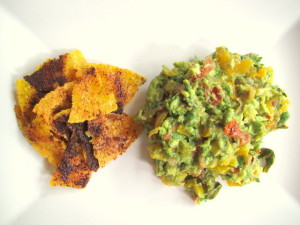 Roasted Guacamole with Homemade Chili Corn Chips