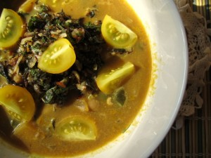 Pumpkin Apple Soup with Almond Pesto