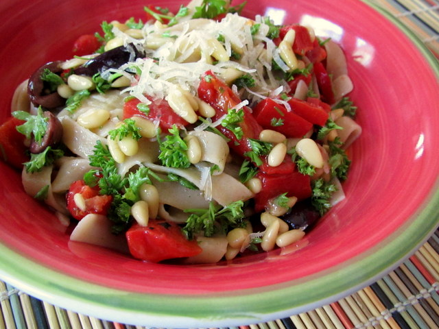 Parsley Pasta With Pine Nuts Roasted Peppers Olives